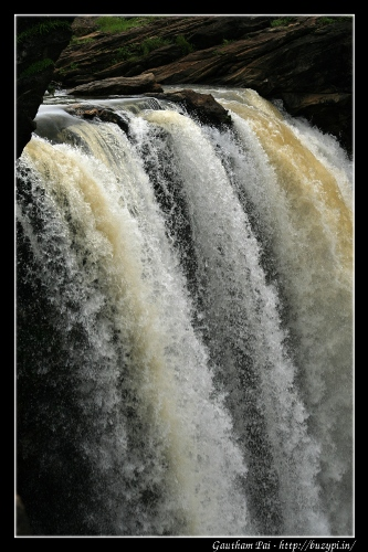 Vertial Shot of the origin of Raja Falls at Jog Falls, Shimoga